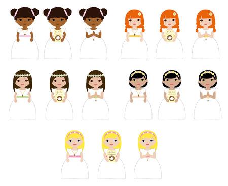 Ilustración de Set of girls in their first communion. - Imagen libre de derechos