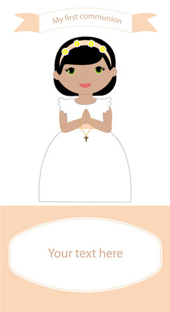 Ilustración de Communion Reminder with space for text and a girl in white dress - Imagen libre de derechos