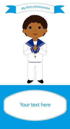 Ilustración de Communion reminder with space for text and a boy in white clothes. - Imagen libre de derechos
