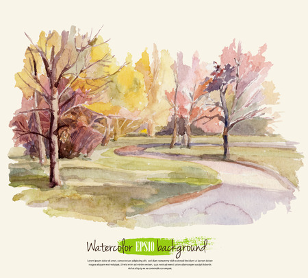 Illustration pour Autumn landscape. Watercolor. Vector illustration. - image libre de droit