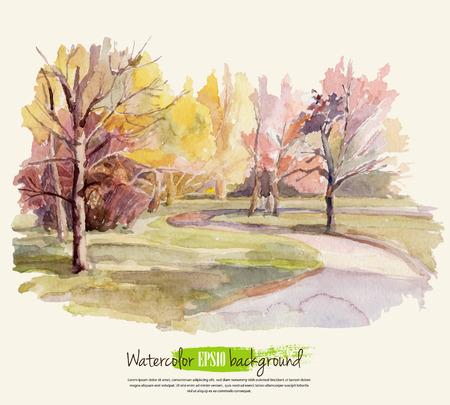 Ilustración de Autumn landscape. Watercolor. Vector illustration. - Imagen libre de derechos