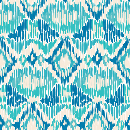 Ilustración de Blue and white seamless Ikat Pattern. - Imagen libre de derechos