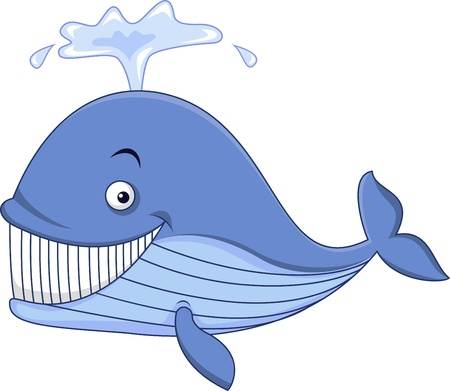 Illustration for Blue whale cartoon - Royalty Free Image
