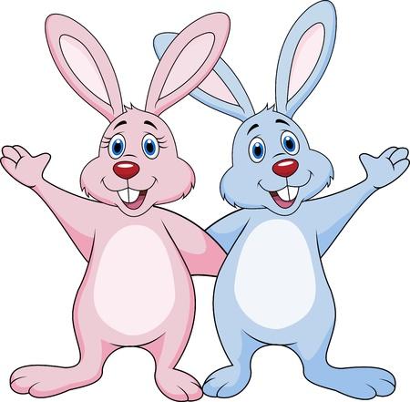 Funny couple rabbit waving