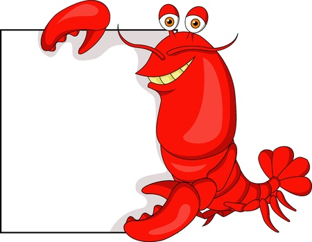 Lobster cartoon with blank sign