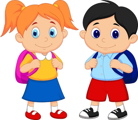 Photo pour Boy and girl cartoon with backpacks - image libre de droit