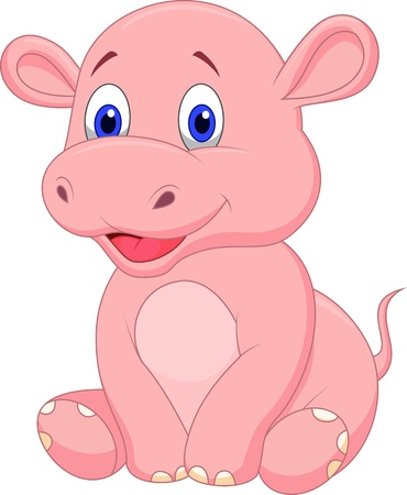 Illustration for Cute baby hippo cartoon - Royalty Free Image