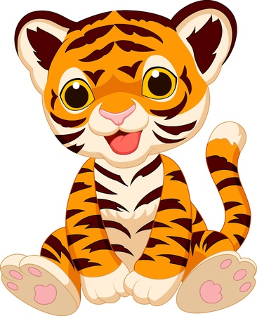 Photo pour Cute tiger cartoon - image libre de droit