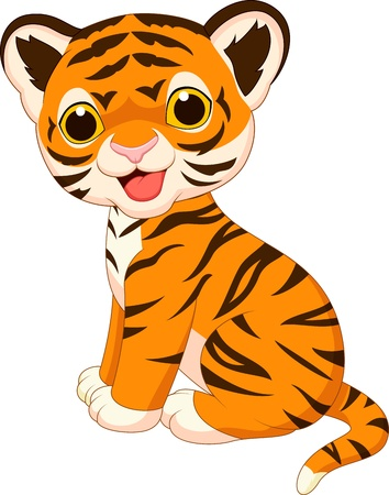 Illustration for Cute tiger cartoon - Royalty Free Image