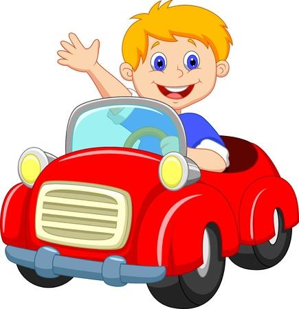 Illustration pour Boy cartoon in the red car  - image libre de droit