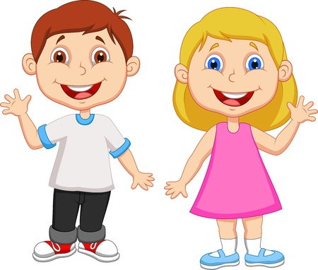 Illustration pour Cartoon boy and girl waving hand  - image libre de droit
