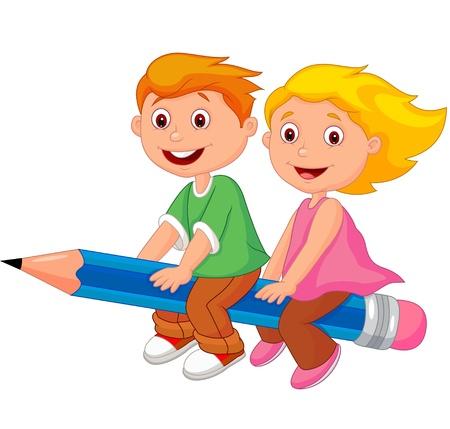 Illustration pour Cartoon boy and girl flying on a pencil  - image libre de droit