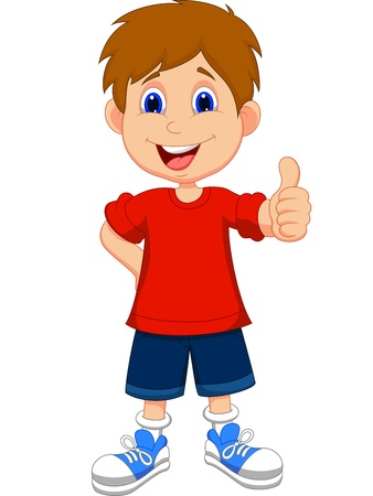 Illustration pour Cartoon boy giving you thumbs up  - image libre de droit