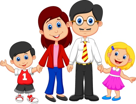 Photo pour Happy family cartoon  - image libre de droit