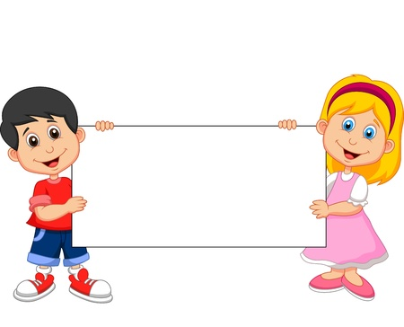 Cartoon boy and girl holding blank sign