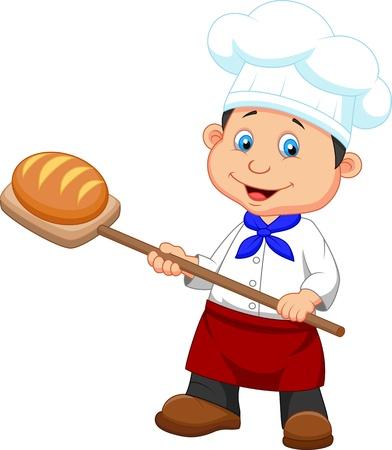 Illustration pour Illustration of cartoon a baker with bread - image libre de droit