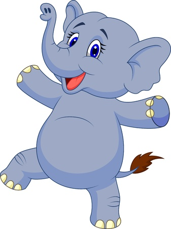 Cute elephant cartoon dancing