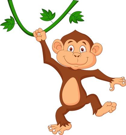 Illustration pour Cute monkey cartoon hanging  - image libre de droit