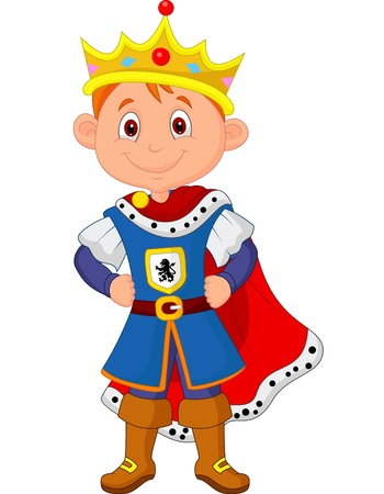 Illustration for Kid cartoon with king costume  - Royalty Free Image