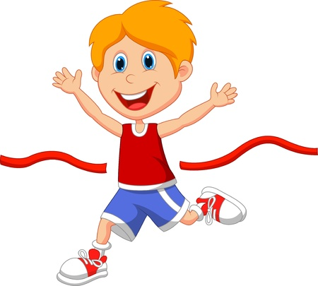Ilustración de Boy cartoon ran to the finish line first  - Imagen libre de derechos
