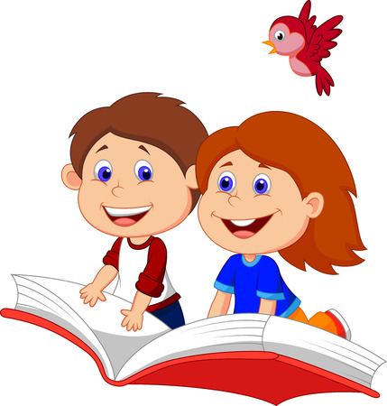 Illustration pour Cartoon Boy and girl flying on a book  - image libre de droit