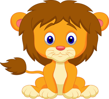 Baby lion cartoon sitting