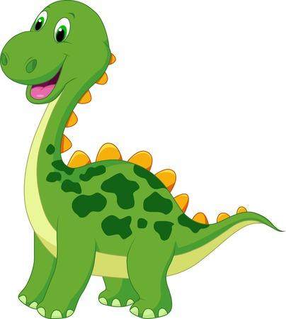 Illustration pour Cute green dinosaur cartoon  - image libre de droit