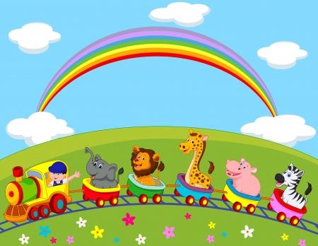 Photo for Animal train cartoon  - Royalty Free Image