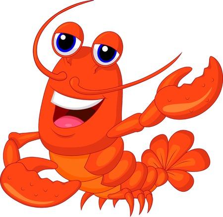 Illustration pour Cute lobster cartoon presenting  - image libre de droit
