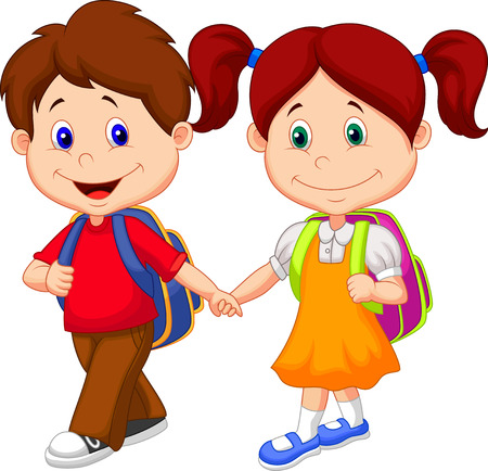 Illustration for Happy children cartoon come with backpacks  - Royalty Free Image