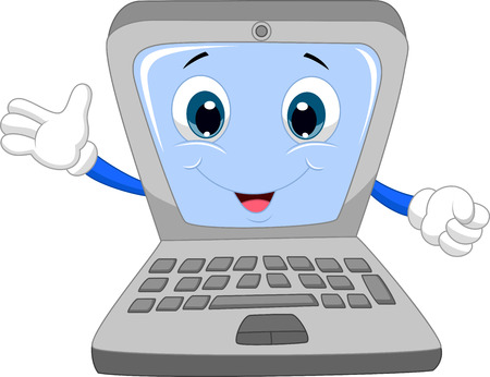 Ilustración de Cute laptop cartoon waving hand  - Imagen libre de derechos