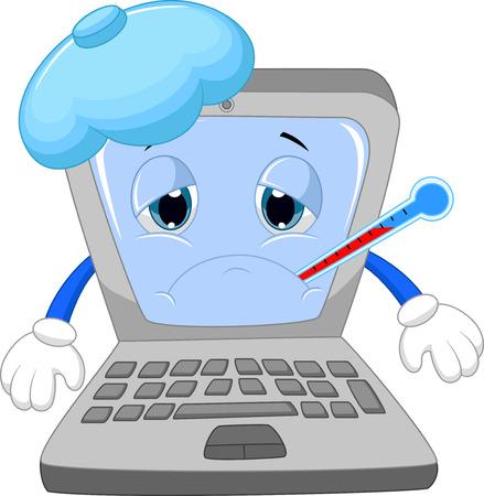 Illustration pour Sick laptop cartoon  - image libre de droit