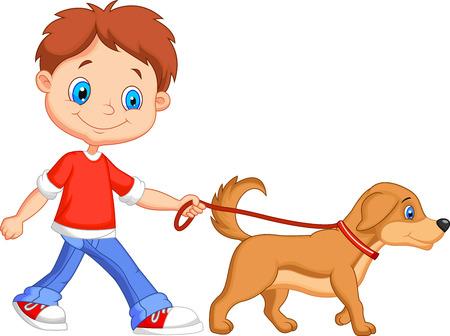 Ilustración de Cute cartoon boy walking with dog  - Imagen libre de derechos