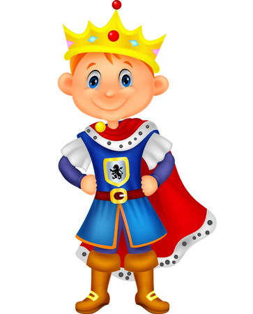 Illustration for Cute boy cartoon with king costume  - Royalty Free Image