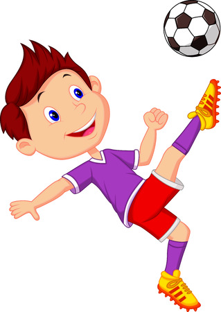 Boy cartoon playing football