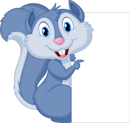 Cute squirrel cartoon holding blank sign