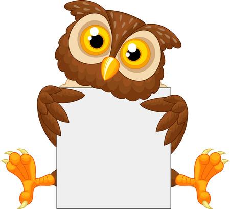 Illustration pour Cute owl cartoon holding blank sign  - image libre de droit