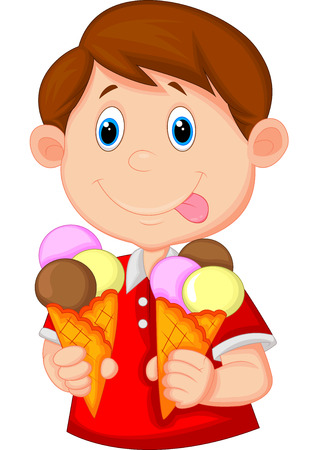 Illustration for Little boy cartoon with ice cream  - Royalty Free Image