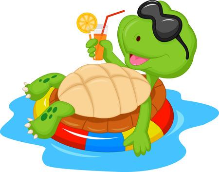Cute turtle cartoon on inflatable round
