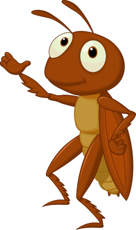 Cute cricket cartoon presenting
