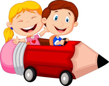 Illustration pour Happy children cartoon riding pencil car - image libre de droit