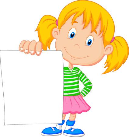 Illustration pour Cartoon girl holding blank paper - image libre de droit