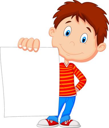 Illustration pour Cartoon boy holding blank paper - image libre de droit