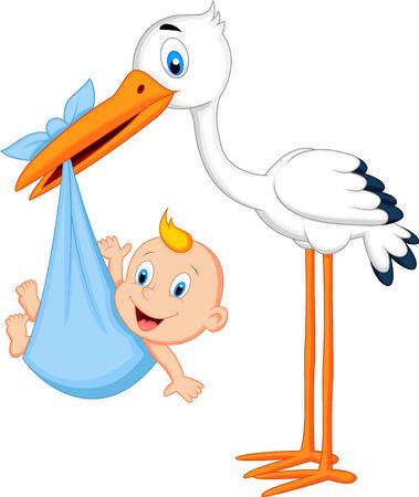 Illustration pour Cartoon stork carrying baby - image libre de droit