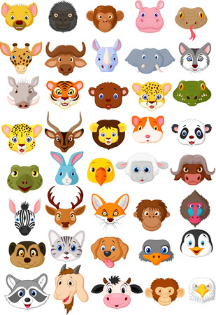 Photo for Cartoon animal head collection set  - Royalty Free Image