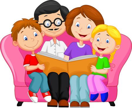 Photo pour Happy family cartoon reading book  - image libre de droit