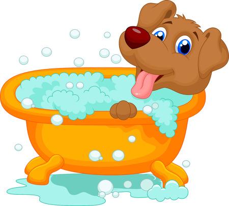 Illustration pour Cartoon Dog bathing time - image libre de droit