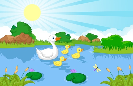 Illustration for Duck family cartoon swimming  - Royalty Free Image