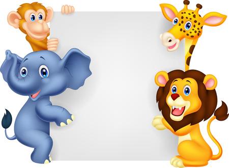 Illustration for Wild animal cartoon holding blank sign - Royalty Free Image