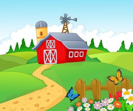 Illustration pour Farm cartoon background  - image libre de droit